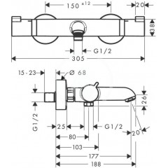 Hansgrohe Termostatická vanová baterie, chrom 13114000