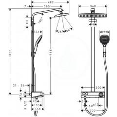 Hansgrohe Sprchový set Showerpipe 360 s termostatem ShowerTablet Select 300, chrom 27288000
