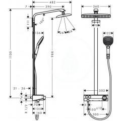 Hansgrohe Sprchový set Showerpipe 360 s termostatem ShowerTablet Select 300, bílá/chrom 27288400