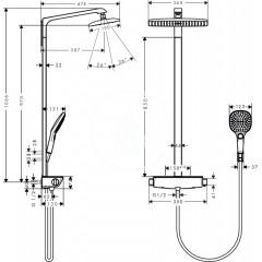 Hansgrohe Sprchový set Showerpipe 360 s termostatem, EcoSmart 9 l/min, bílá/chrom 27286400