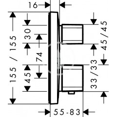 Hansgrohe Termostatická baterie pod omítku s uzavíracím a přepínacím ventilem, chrom 15708000