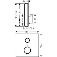 Hansgrohe Termostatická sprchová baterie pod omítku, černá/chrom 15737600