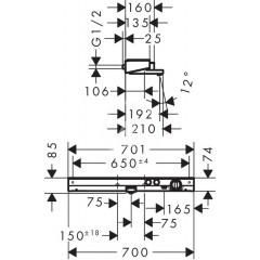 Hansgrohe Termostatická vanová baterie 700, bílá/chrom 13183400