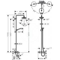 Hansgrohe Termostatická vanová baterie Showerpipe 180 s příslušenstvím, 2 proudy, bílá/chrom 27352400