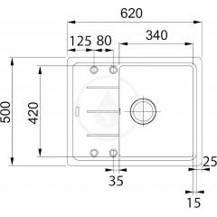 Franke Kuchyňský set G54, granitový dřez BFG 611-62, tmavě hnědá + baterie FC 650, chrom 114.0323.814