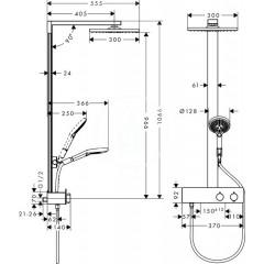Hansgrohe Sprchový set Showerpipe 300, s termostatem 350, chrom 27361000