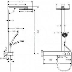 Hansgrohe Sprchový set Showerpipe 300 s termostatem 600, chrom 27363000