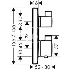 Hansgrohe Termostatická baterie pod omítku s uzavíracím ventilem, chrom 15712000