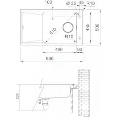 Franke Fragranitový dřez FXG 611-86, 860x500 mm, onyx 114.0540.926