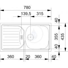 """Franke Kuchyňský set N49, nerezový dřez ETN 614 6/4"""" NOVA + baterie FC 9547, chrom 101.0366.098"""
