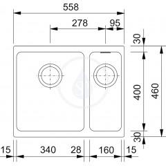 Franke Fragranitový dřez KBG 160/2, 558x460 mm, pískový melír 125.0250.536