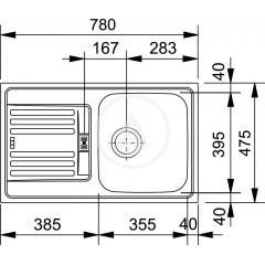 Franke Nerezový dřez EFN 614-78, 780x475 mm + sifon 101.0286.017