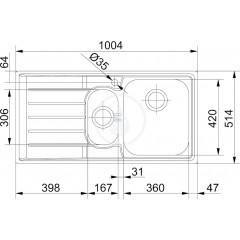 Franke Nerezový dřez NEX 251/2, 1004x514 mm 127.0059.658