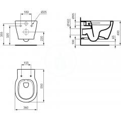 Ideal Standard Závěsné WC, 360x340x540 mm, Rimless, bílá E817401