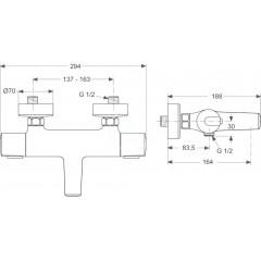 Ideal Standard Termostatická vanová baterie, chrom A4623AA