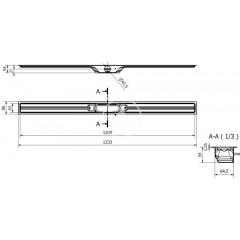 I-Drain Nerezový sprchový žlab, délka 1200 mm, s hydroizolací ID4M12001X1