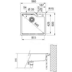 Franke Fragranitový dřez UBG 610-56, 560x500 mm, onyx 114.0582.776