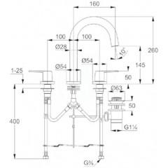 Kludi Umyvadlová baterie s výpustí, 3-otvorová instalace, chrom 403930575