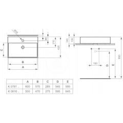 Ideal Standard Umyvadlo 500x420x145 mm, 1 otvor pro baterii, s Ideal Plus, bílá K0816MA