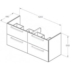 Ideal Standard Skříňka pod dvojumyvadlo 1200 mm, dub světle šedý E0539SG