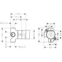 Hansgrohe Základní těleso pro uzavírací a přepínací ventil pod omítku 15981180