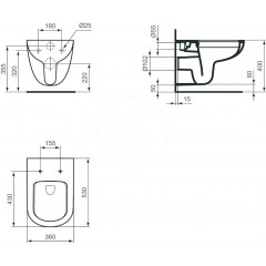 Ideal Standard Závěsný klozet, 360x530x340 mm, Rimless, bílá T041501
