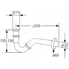 Kludi Bidetový trubkový sifon, chrom 1031105-00