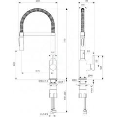 Ideal Standard Dřezová baterie Semi Profi s flexibilním ramenem, BlueStart, chrom BC302AA