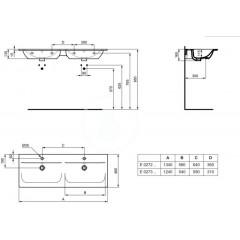 Ideal Standard Dvojumyvadlo, 1240x460 mm, s přepadem, bílá E027301