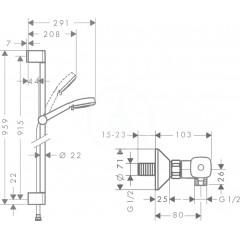 Hansgrohe Sprchový set Vario s termostatem Ecostat Universal, bílá/chrom 27031400