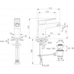 Ideal Standard Bidetová baterie s odtokovou soupravou, chrom A6336AA