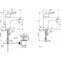 Ideal Standard Umyvadlová baterie s výpustí, chrom B1713AA