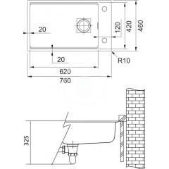 Franke Fragranitový dřez KNG 110-62, 760x460 mm, onyx 125.0512.515