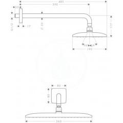Hansgrohe Horní sprcha 360, sprchové rameno 390 mm, EcoSmart 9 l/min, chrom 26605000