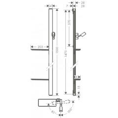 Hansgrohe Sprchová tyč 1500 mm, se sprchovou hadicí, bílá/chrom 27645400