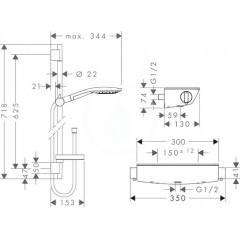 Hansgrohe Sprchový set s termostatem, 150 mm, 3 proudy, chrom 27036000