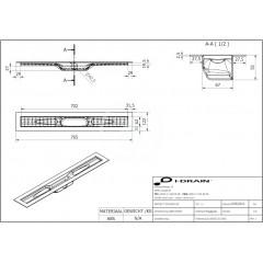 I-Drain ABS sprchový žlab s hydroizolací, délka 700 mm IDABS4M07001X1