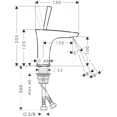 Hansgrohe Páková umyvadlová baterie 100 s odtokovou soupravou Push-Open pro umývátko, chrom 15075000
