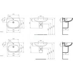 Ideal Standard Umyvadlo 700x530x210 mm, s 1 otvorem pro baterii, bílá T351201