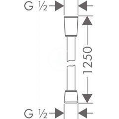 Hansgrohe Sprchová hadice Comfortflex 1250 mm, chrom 28167000