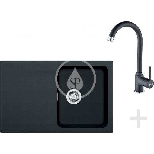 Franke Kuchyňský set T30, tectonitový dřez OID 611-78, černá + baterie FP 9000, onyx NEW 114.0366.039