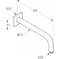 Kludi Sprchové rameno 250 mm, chrom 6653305-00