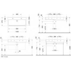 Duravit Dvojumyvadlo 1000x470 mm, se 2 otvory pro baterie, s WonderGliss, alpská bílá 04541000241