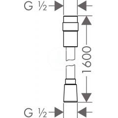 Hansgrohe Sprchová hadice Isiflex 1600 mm s regulací průtoku, chrom 28248000
