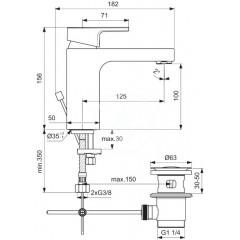 Ideal Standard Umyvadlová baterie s výpustí, chrom A7104AA