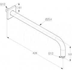 Kludi Sprchové rameno, 400 mm, bílá 6653491-00