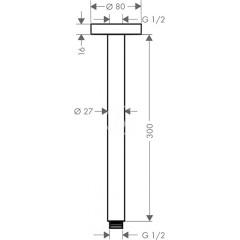 Hansgrohe Sprchové rameno S 300 mm, chrom 27389000