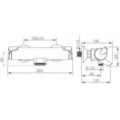 Hansa Termostatická vanová baterie, chrom 65132101