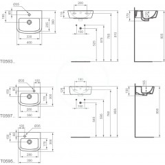 Ideal Standard Umývátko 350x300x150 mm, 1 otvor pro baterii vlevo, bílá T059501
