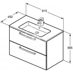 Ideal Standard Skříňka s umyvadlem 815x450 mm, dekor dub pískový K2978OS